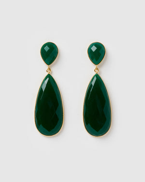 Izoa Selene Earrings Green Onyx Gold