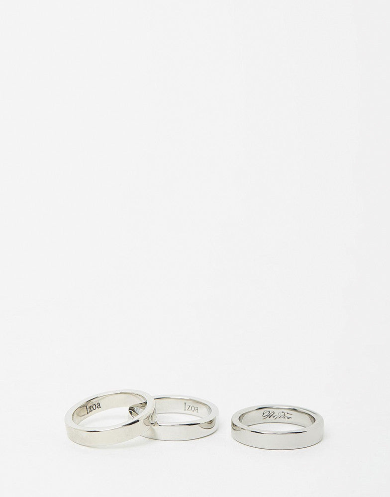 Izoa Silver Set Of Three Rings