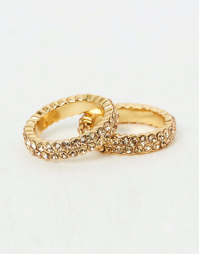 Izoa Set Of Two Crystal Rings Gold
