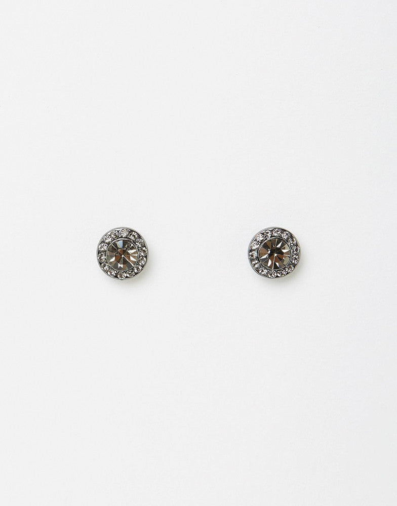 Izoa Small Detail Stud Earrings Gunmetal