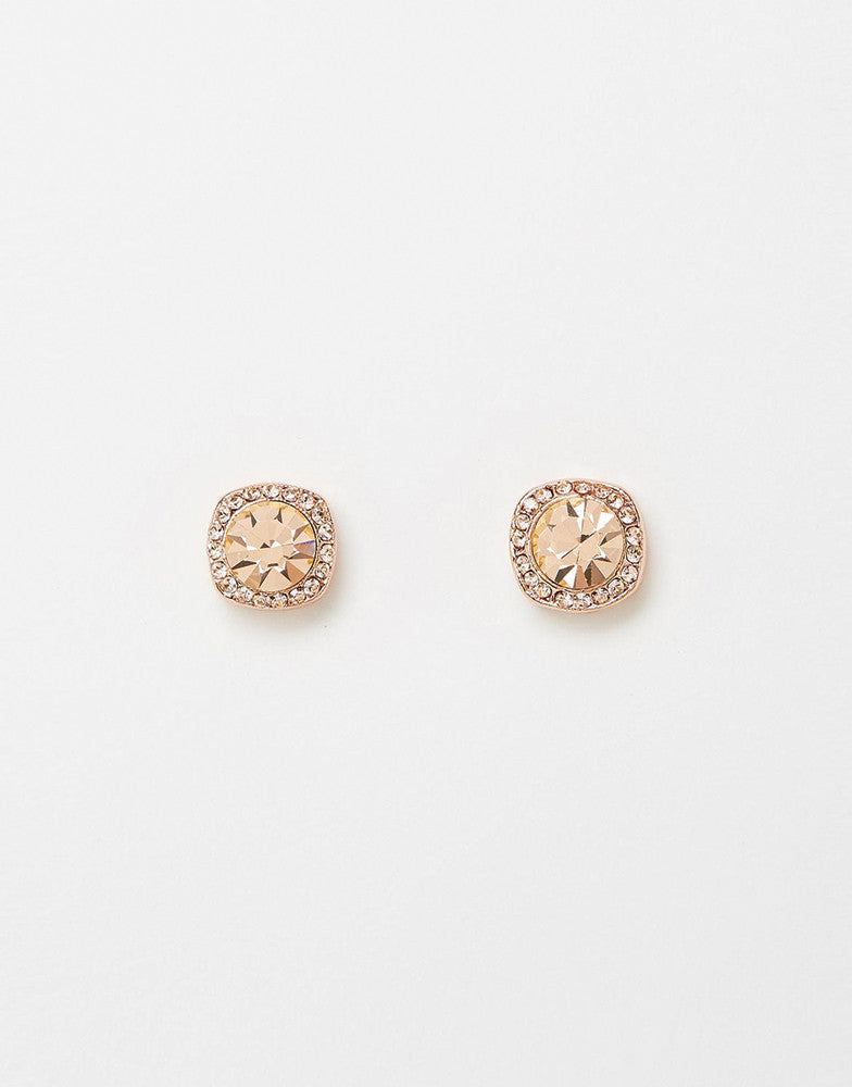 Izoa Shine Stud Earrings Rose Gold