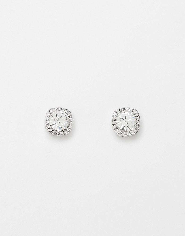 Izoa Shine Stud Earrings Silver Clear
