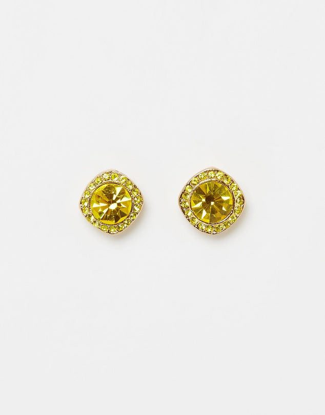 Izoa Shine Stud Earrings Gold Lime