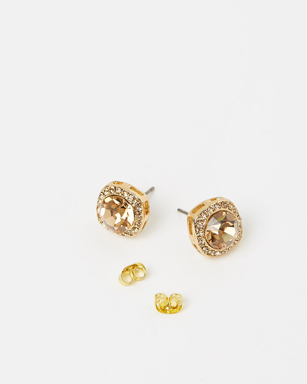 Izoa Small Detail Stud Earrings Gold