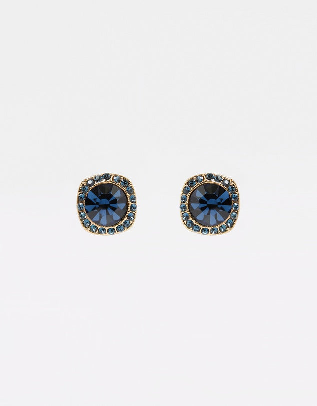Izoa Shine Stud Earrings Gold Navy