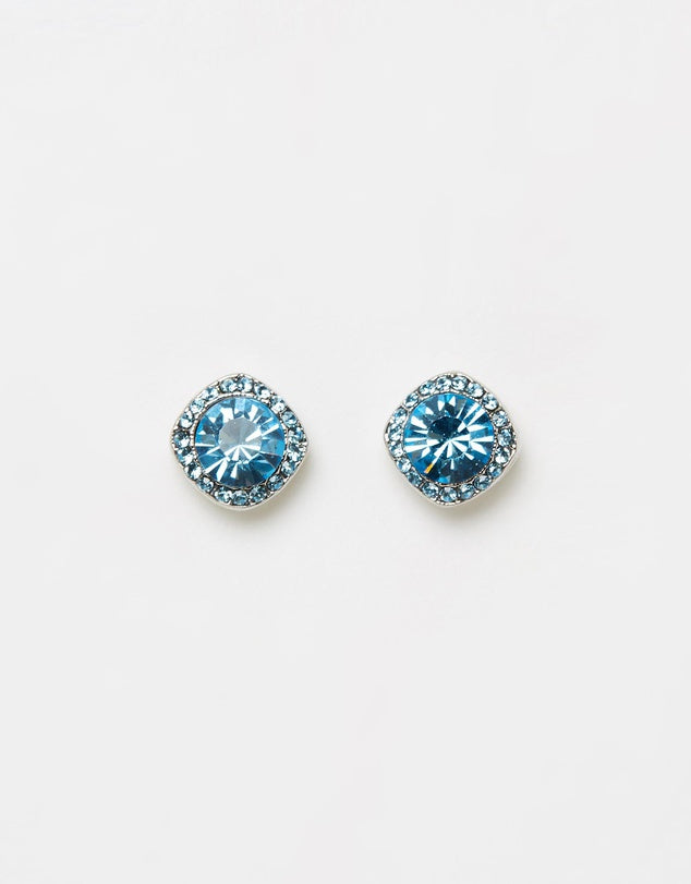 Izoa Shine Stud Earrings Silver Light  Blue