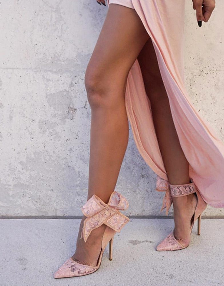 Izoa The Shiralee Heels Blush Lace in Collaboration With Shiralee Coleman