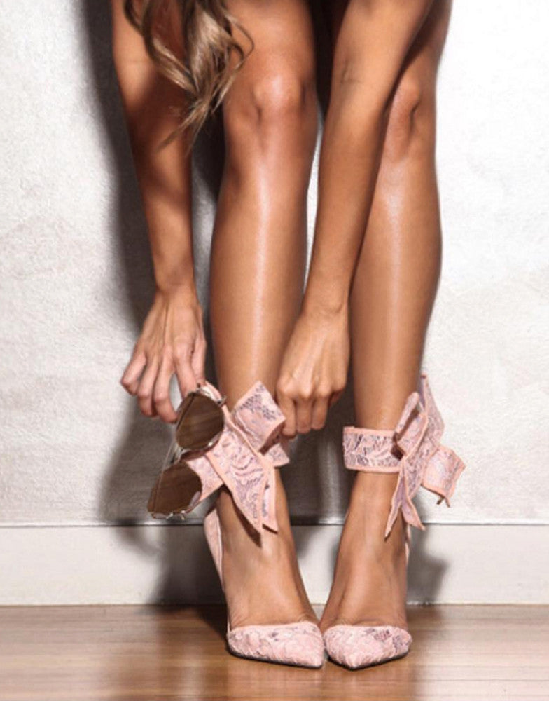 Izoa The Shiralee Heels Blush Lace in Collaboration With Shiralee Coleman (SIZES 39 & 40 ONLY)