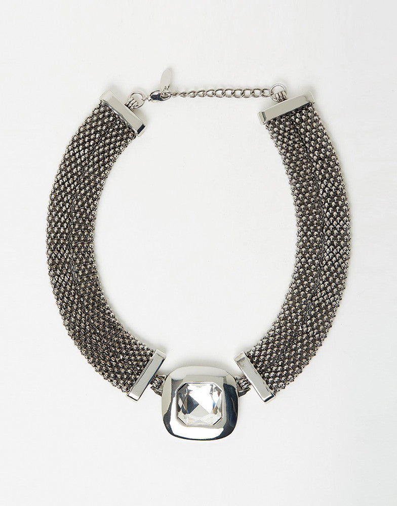 Izoa Rose Statement Necklace Silver