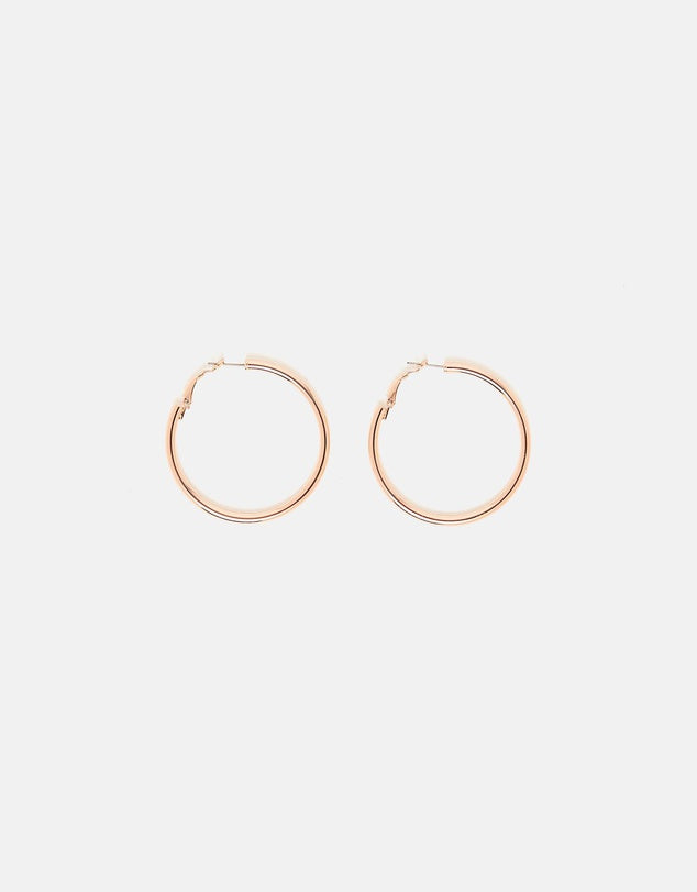 Izoa Simple Hoop Earrings Rose Gold