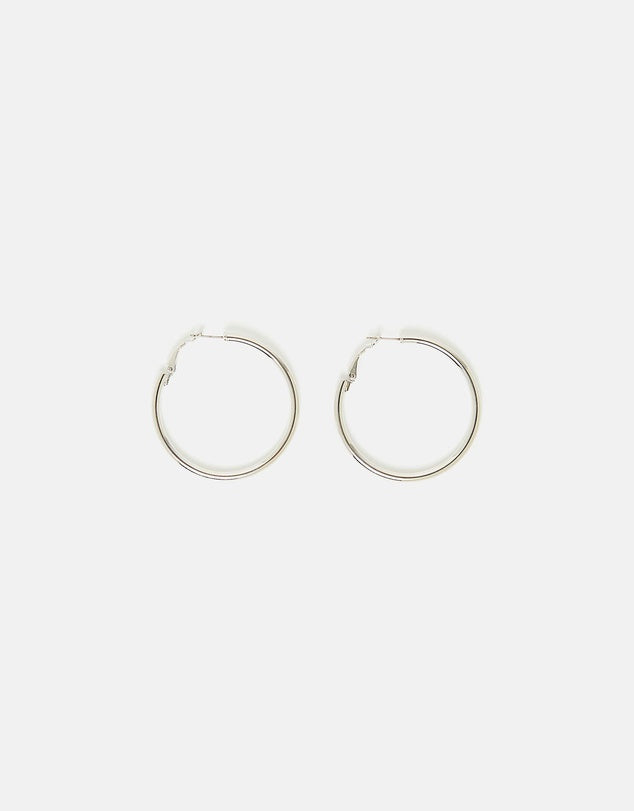 Izoa Simple Hoop Earrings Silver