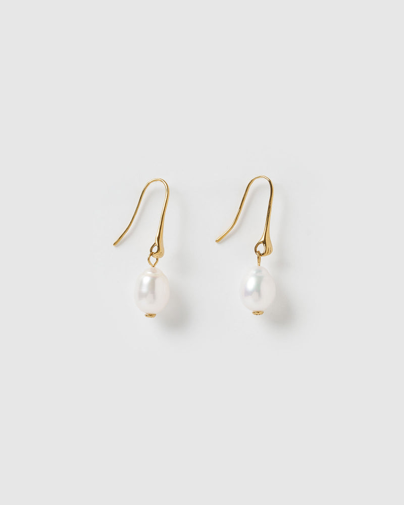 Izoa Sirius Drop Earrings Gold Freshwater Pearl