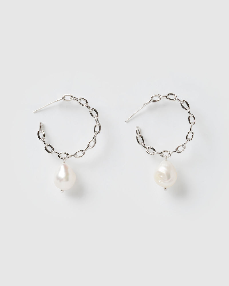 Izoa Skylar Hoop Earrings Silver Freshwater Pearl