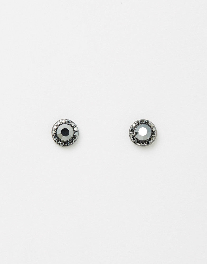 Izoa Small Detail Stud Earrings Hematite