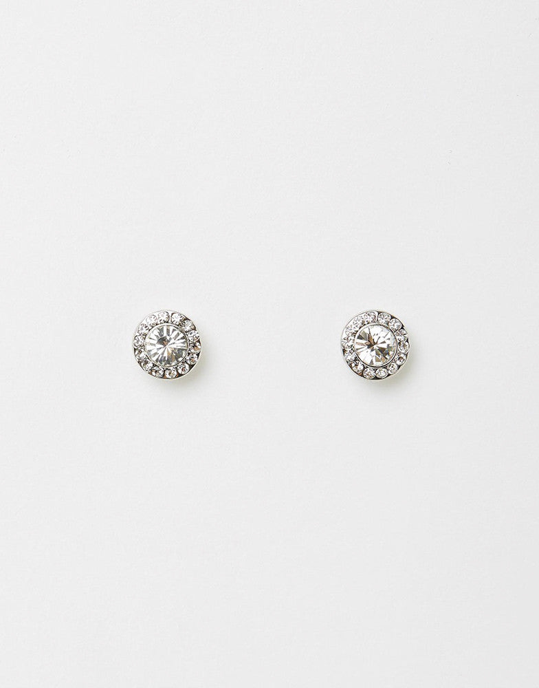 Izoa Small Detail Stud Earrings Silver Clear