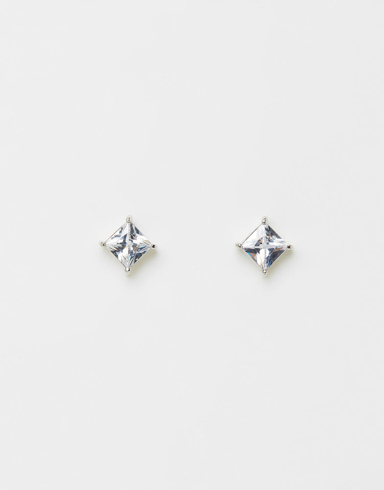 Izoa Cubic Zirconia Small Square Stud Earrings Silver