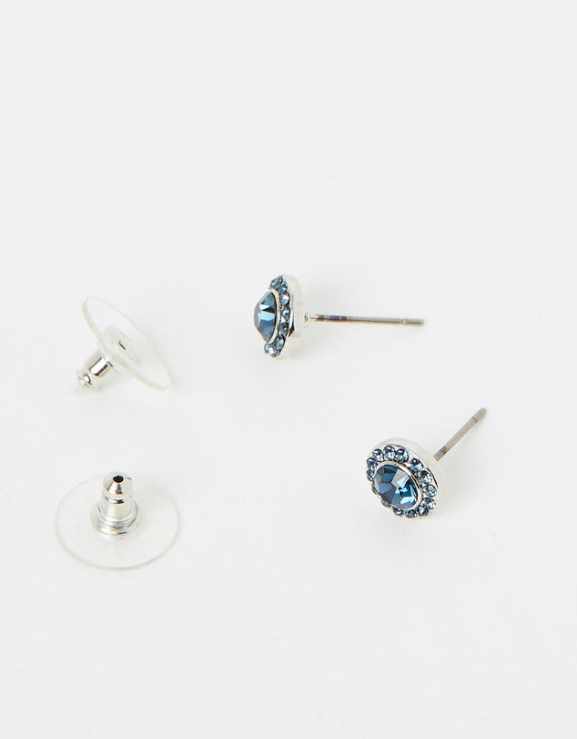 Izoa Small Detail Stud Earrings Silver Navy