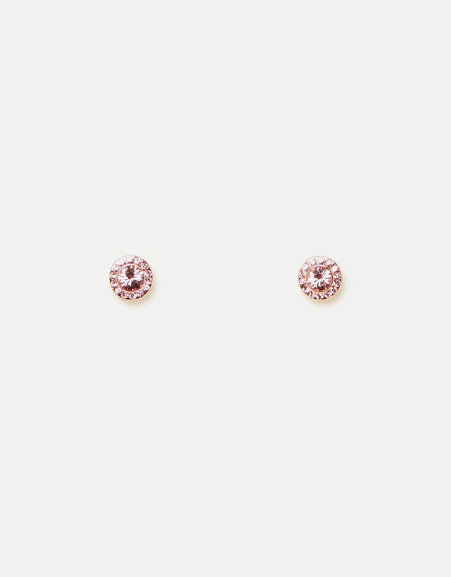 Izoa Small Detail Stud Earrings Rose Gold Pink
