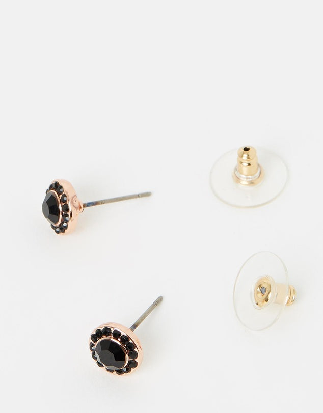 Izoa Small Detail Stud Earrings Rose Gold Black
