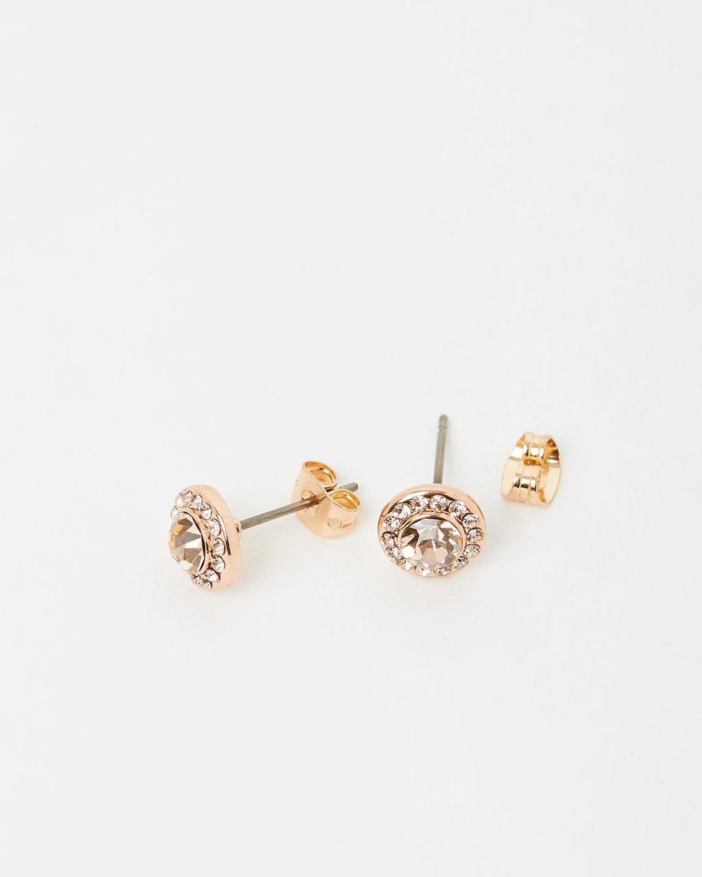 Izoa Small Detail Stud Earrings Rose Gold