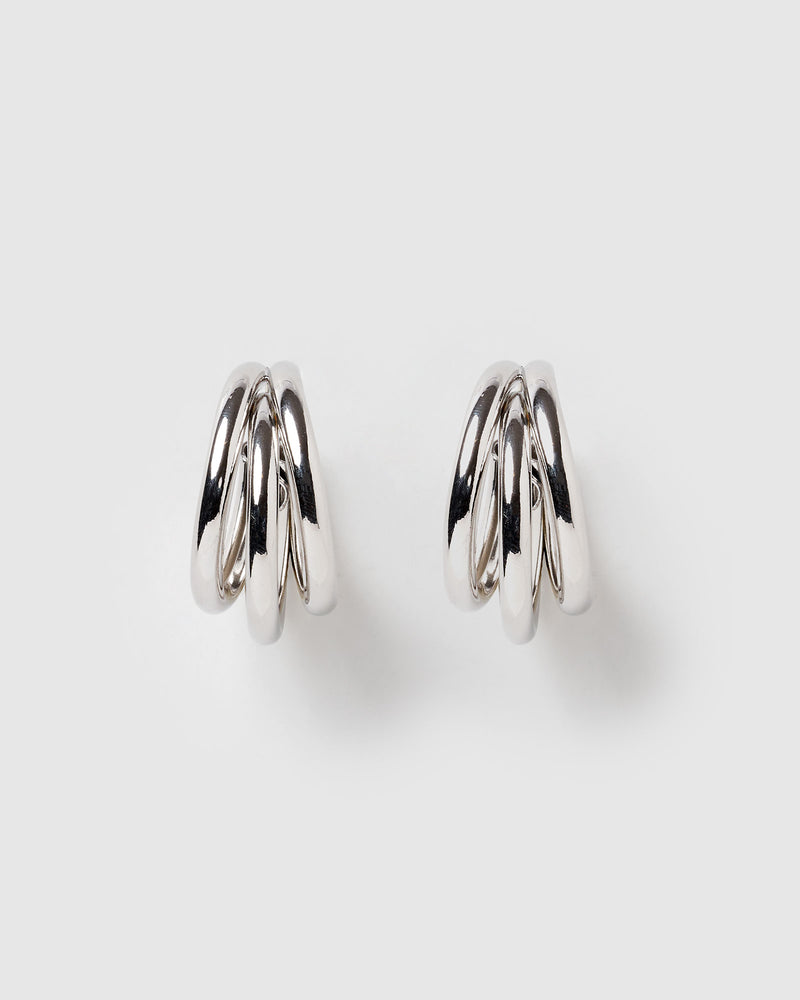Izoa Splendour Hoop Earrings Silver