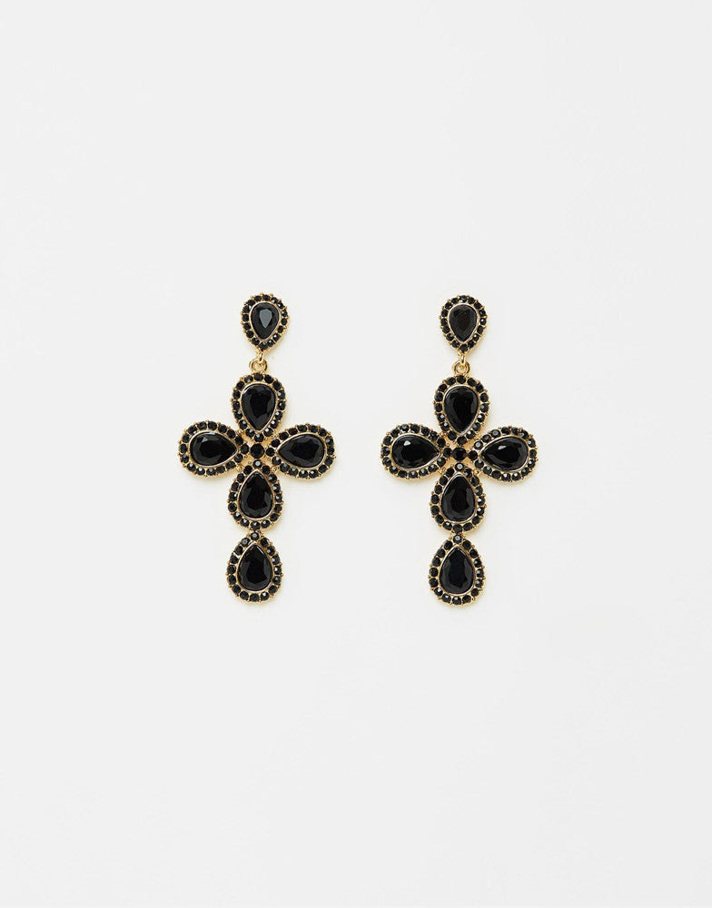 Izoa Star Crossed Earrings Gold Black