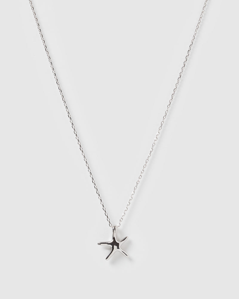 Izoa Starfish Charm Necklace Silver
