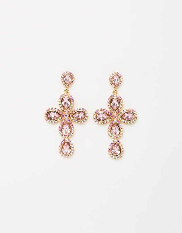 Izoa Star Crossed Earrings Gold Pink