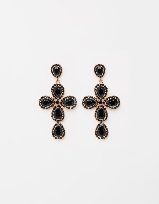 Izoa Star Crossed Earrings Rose Gold Black