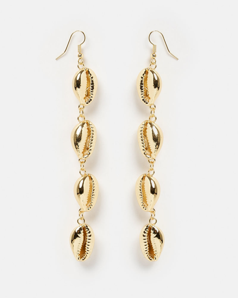 Miz Casa & Co Statement Cowrie Shell Earrings Gold