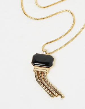 Izoa Stone and Tassel Necklace Gold Black