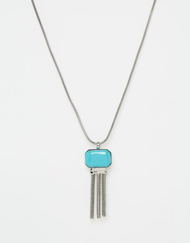 Izoa Stone and Tassel Necklace Silver Turquoise