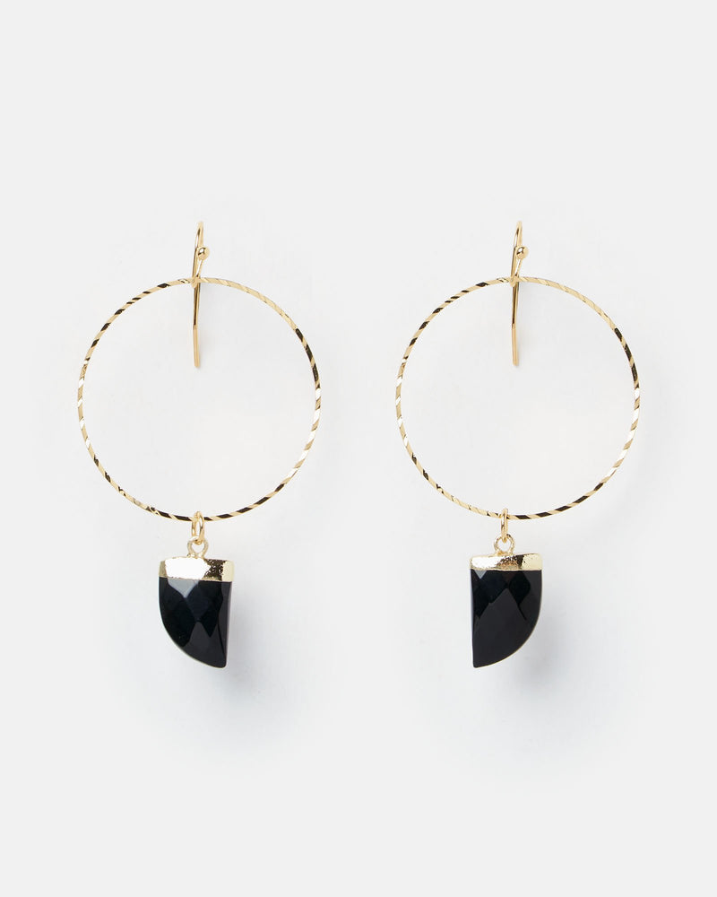 Miz Casa & Co Stone Charm Earrings Gold Black