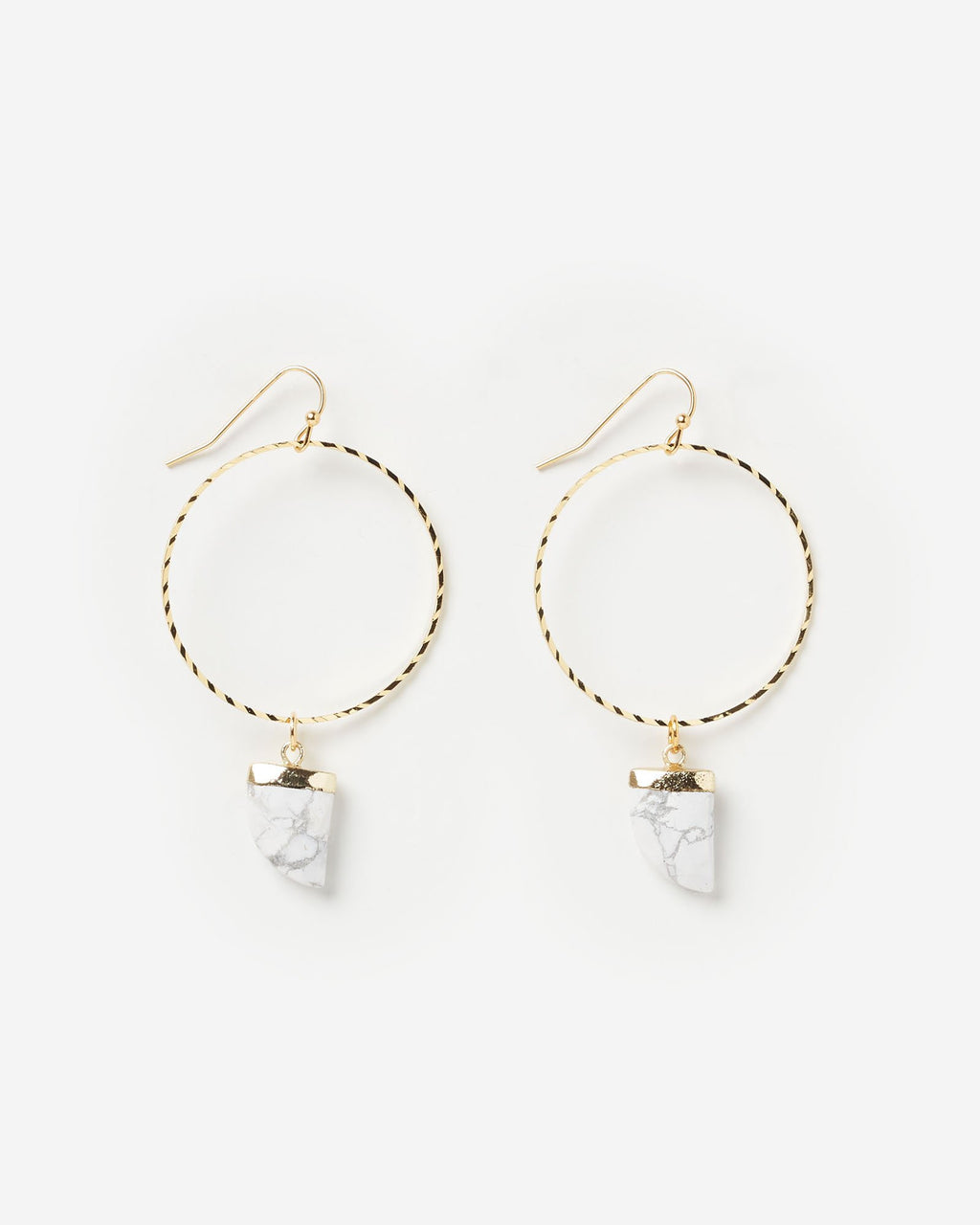 Miz Casa & Co Stone Charm Earrings White Marble