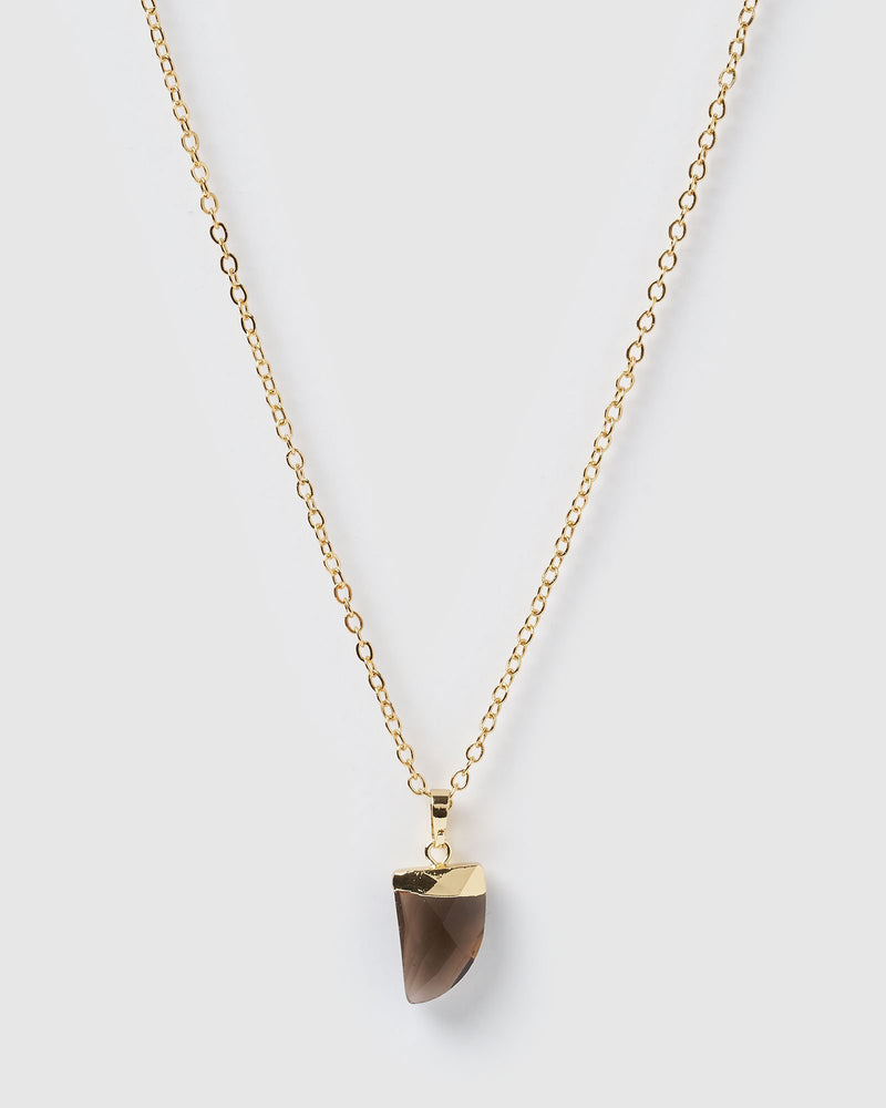 Miz Casa & Co Stone Charm Necklace Gold Smokey Quartz