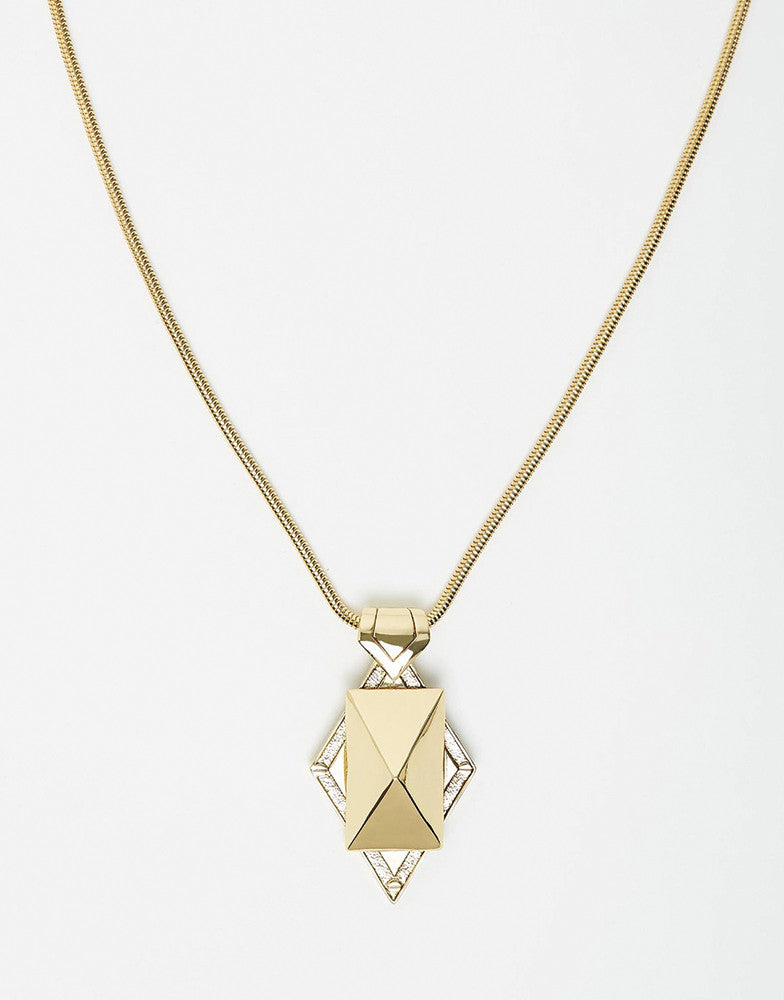 Izoa Stud and Chain Pendant Necklace Gold