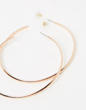 Izoa Super Hoop Earrings Rose Gold