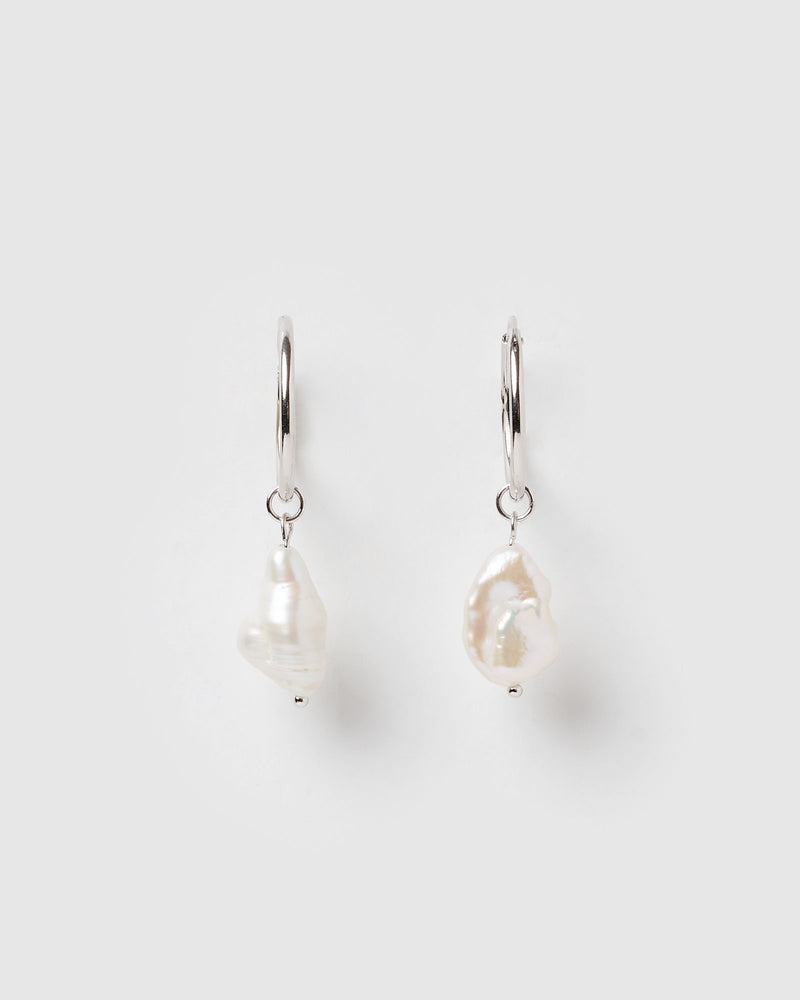Izoa Swan Song Earrings Silver Freshwater Pearl