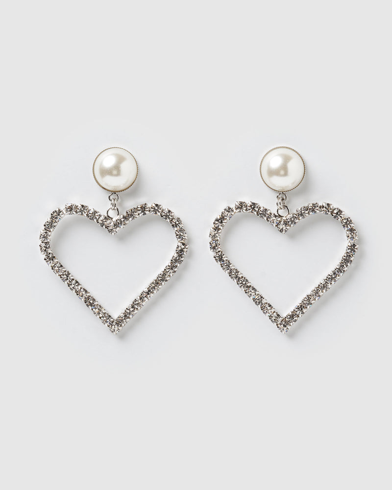 Izoa Sweet Heart Earrings Silver Pearl