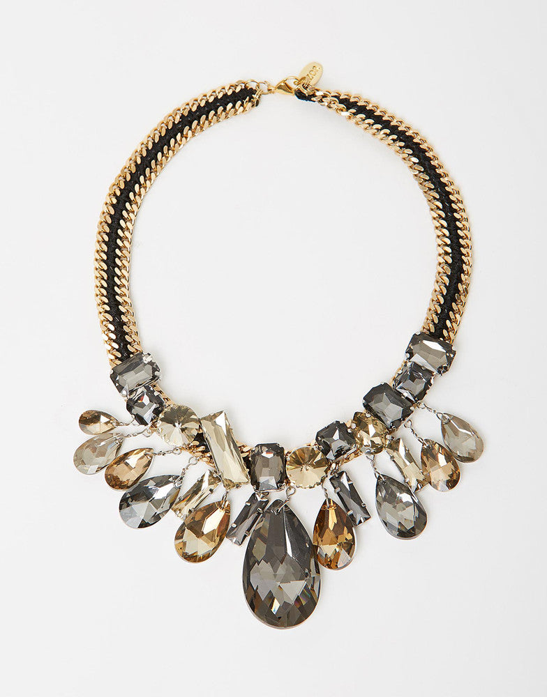 Izoa Swing Sister Statement Necklace Black