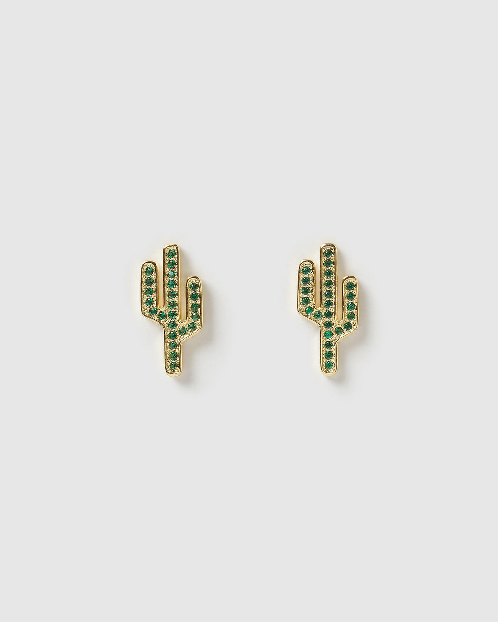 Izoa Saguaro Stud Earrings Gold Green