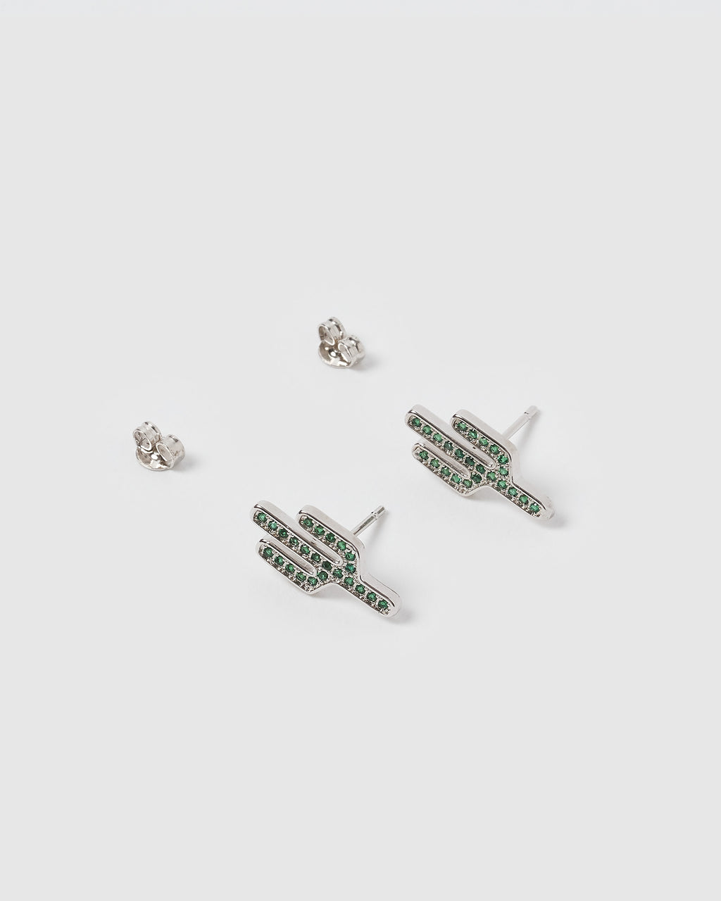 Izoa Saguaro Stud Earrings Silver Green
