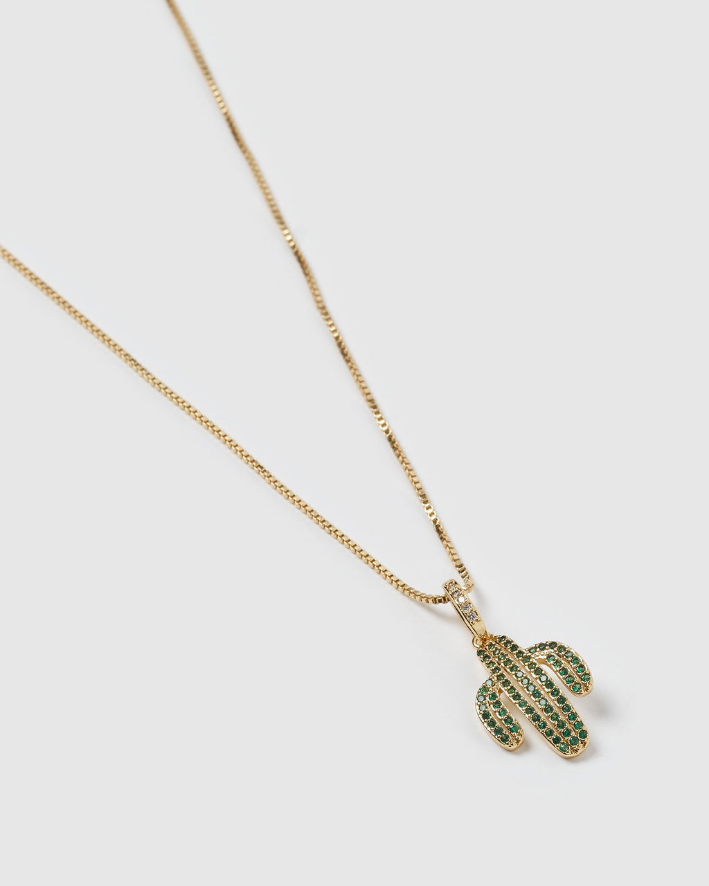 Izoa Saguaro Necklace Gold Green