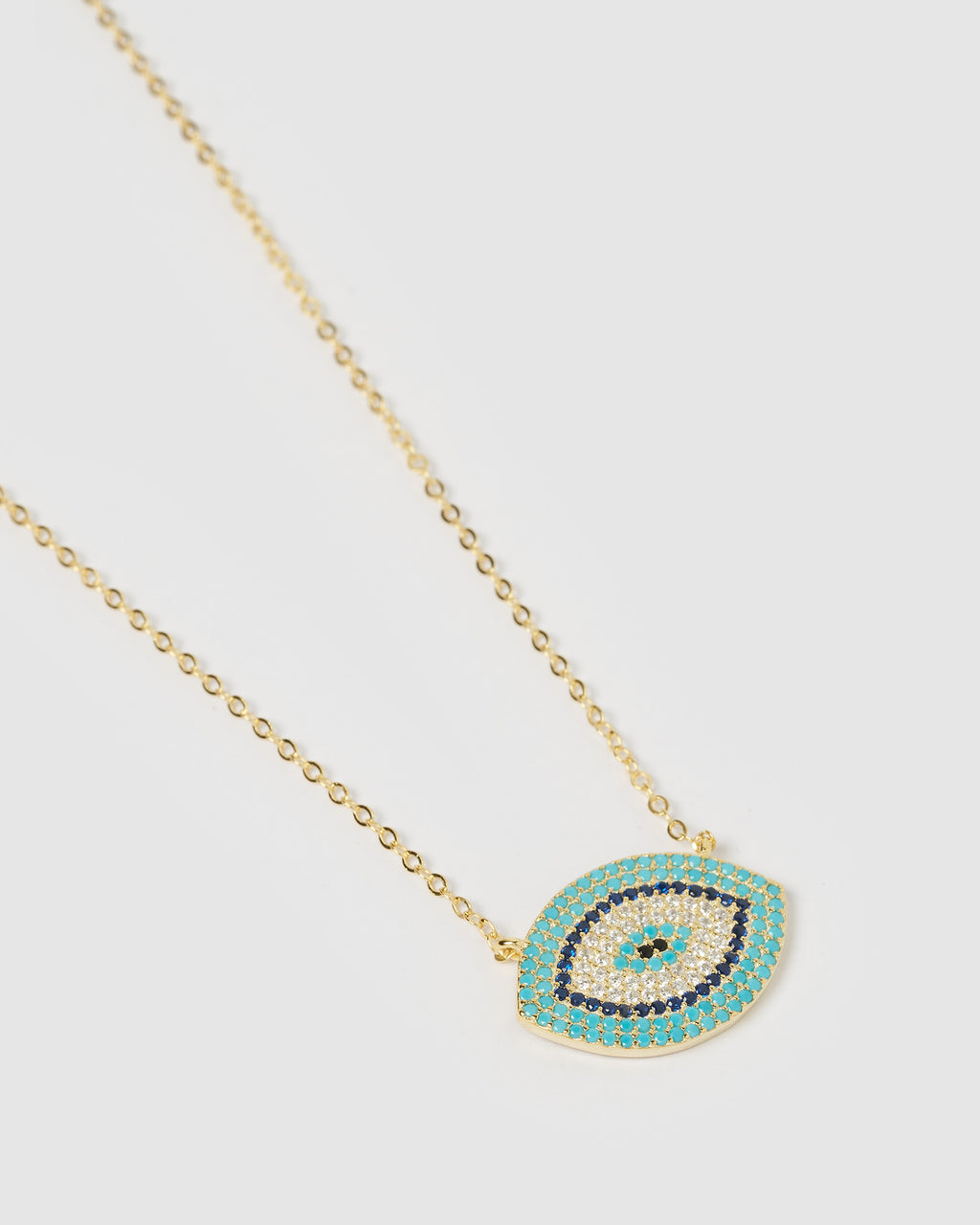 Izoa Sansa Embellished Evil Eye Necklace Gold