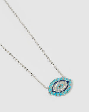 Izoa Sansa Embellished Evil Eye Necklace Silver