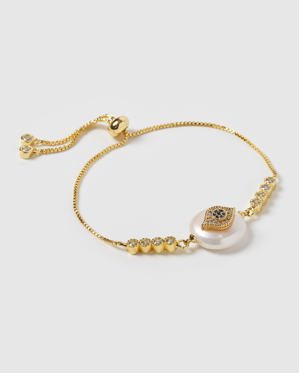 Miz Casa & Co Saskia Eye Bracelet Gold Pearl