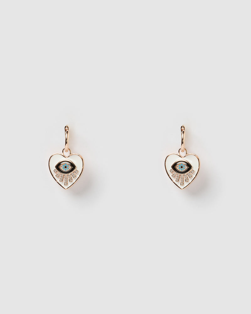 Izoa Seeing Hearts Earrings Rose Gold