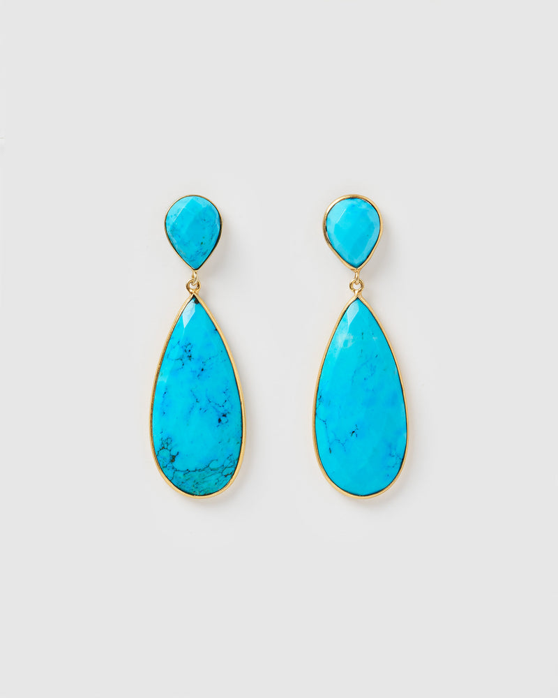 Izoa Selene Earrings Turquoise Gold