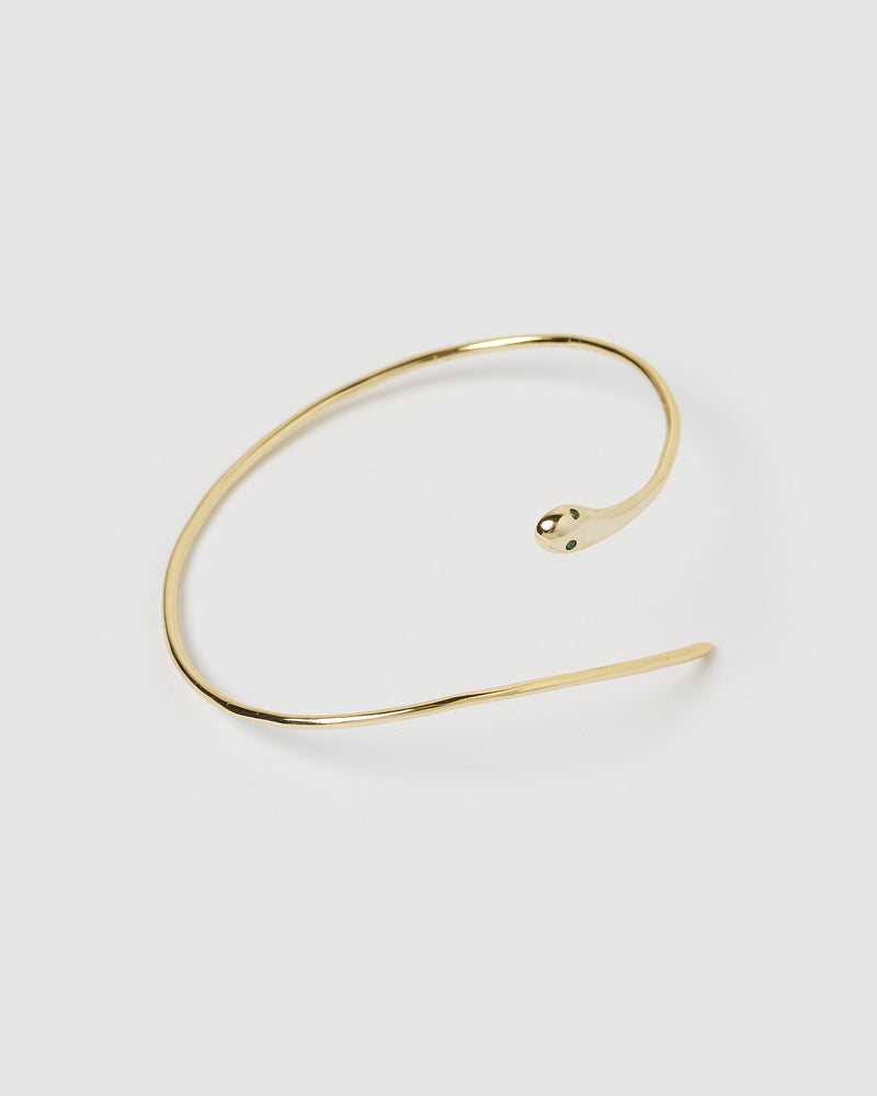 Izoa Serpent Green Eye Cuff Gold