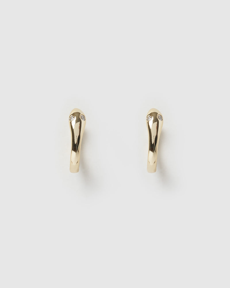 Izoa Serpent Huggie Earrings Gold